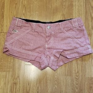 Delia's red/white striped engineer shorts sz 3